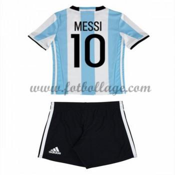 Argentina Barn Landslagströja 2016 Lionel Messi 10 Hemma Matchtröja Långärmad